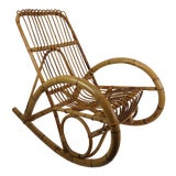 Image of Vintage Franco Albini Style Bamboo Rocking Chair For Sale