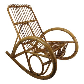 Vintage Franco Albini Style Bamboo Rocking Chair For Sale