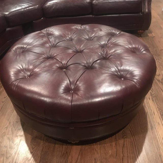 Italian Leather Sectional & Ottoman - Image 5 of 10