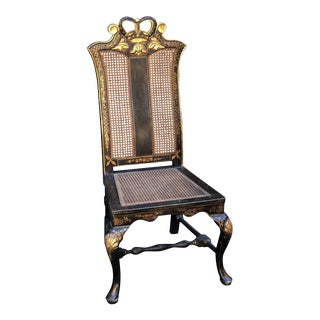 Black & Gold Chinese Chippendale Chinoiserie Decorated Side Chair W Giltwood Crown For Sale