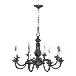 Late 20th Century Verdigris Finish Eight Arm Chandelier For Sale