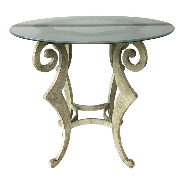 Drexel Heritage Metal Scroll Side Table For Sale