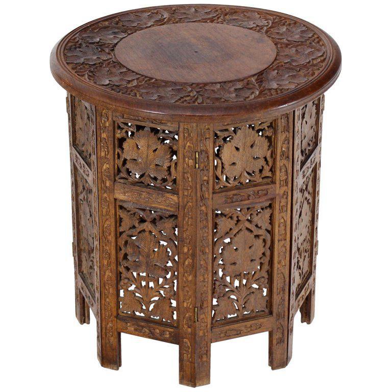 20th Century Folk Art Pierced Carving Teak Round Folding Side Table
