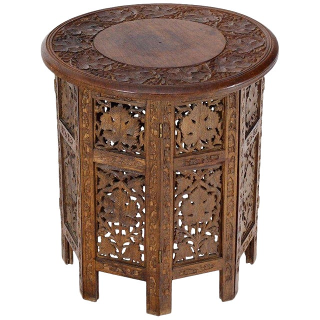 20th Century Folk Art Pierced Carving Teak Round Folding Side Table