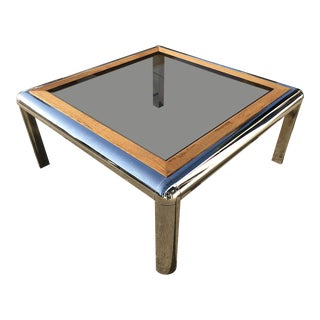 1970s Vintage Chrome Square Coffee Table For Sale