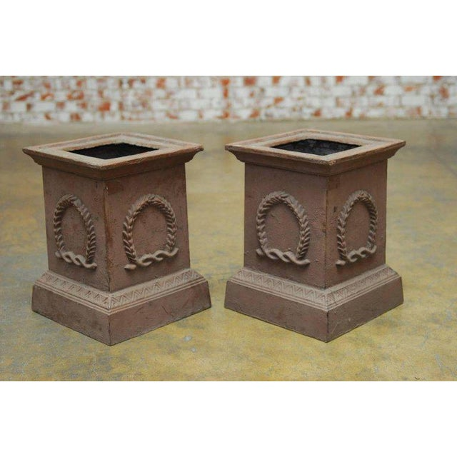 Neoclassical Cast Iron Pedestals or Urns - a Pair For Sale - Image 4 of 10