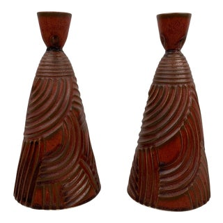 Stephen Fabrico Art Pottery Candle Holders For Sale