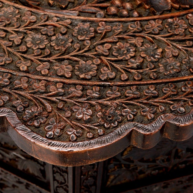 Octagonal Delicately Carved Dark Wood Moorish Table - Image 7 of 9