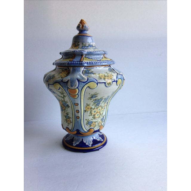 Hand-Painted Floral Italian Lidded Urn - Image 3 of 8