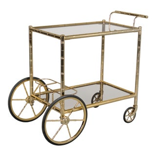 Vintage Mid-Century French Brass Bamboo Bar Cart For Sale