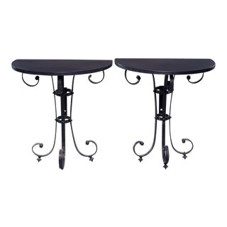 Pair Demi Lune Consoles With Italian Iron Candelabra Base and Black Metal Tops For Sale