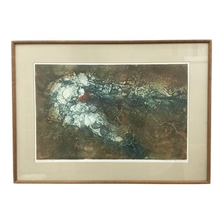 """Anne MacRay MacLeon """"Sea Shallows"""" 1969 Collagraph Print For Sale"""