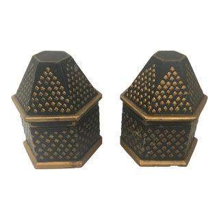 Sarreid Black and Gold Boxes - a Pair For Sale