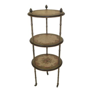 1990s Vintage Maitland Smith Paint Decorated Tiered Occasional Table For Sale