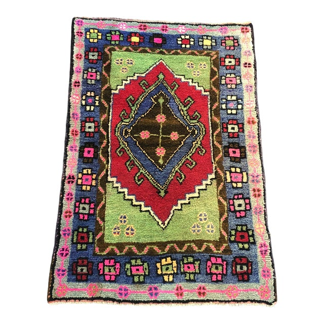 Traditional Anatolian Aztec Antique Blue Green Pink and Red Turkish Oushak Rug For Sale