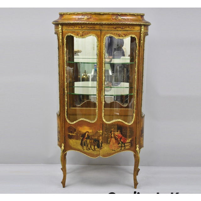 19th Century French Louis XV Hand Painted Vernis Martin Vitrine China Cabinet For Sale - Image 13 of 13