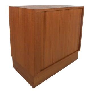 Mid-Century Modern Tambour Door Danish Cabinet For Sale