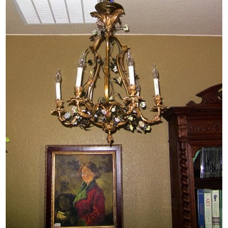 19c French Gilt Bronze Chandelier With Porcelain Flowers Preview