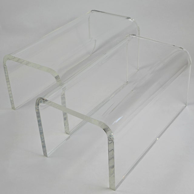Lucite Vintage 1960s-70s Lucite Waterfall Low Tables-A Pair For Sale - Image 7 of 7