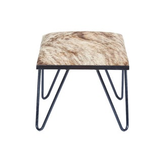 Cowhide Iron Hairpin Footstool For Sale