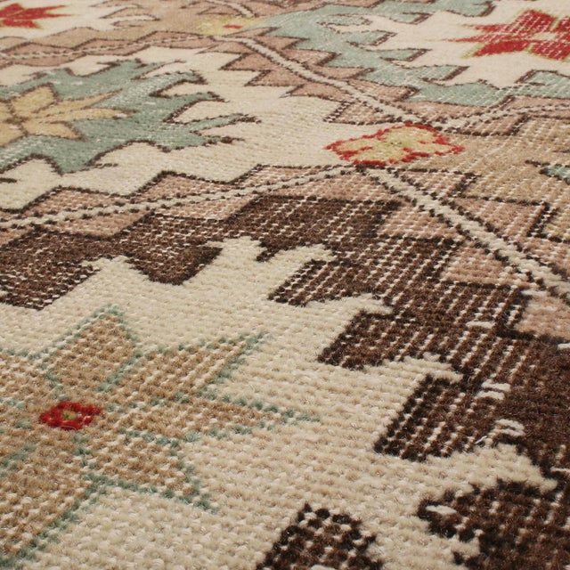 Traditional 1950s Vintage Mid Century Beige-Brown and Blue Wool Rug With Red Accents For Sale - Image 3 of 5