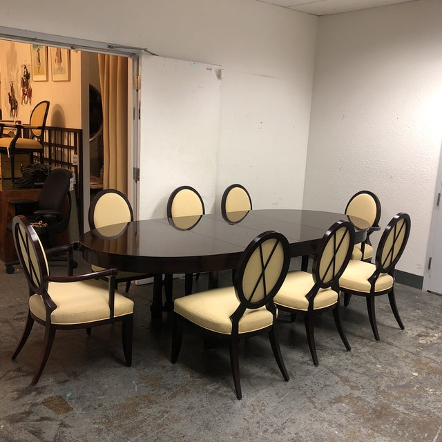 Brown Barbara Barry Oval Dining Table & 8 Chairs for Baker - Set of 9 For Sale - Image 8 of 8