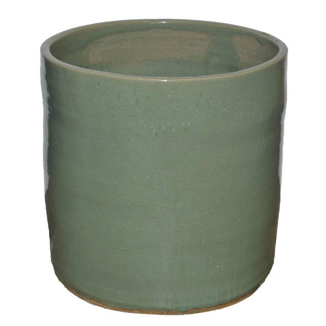 "Green Artisan Series Glazed Terra Cotta Planter ""Mente"" For Sale - Image 8 of 8"