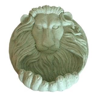 Vintage Cement Lion Wall Plaque For Sale