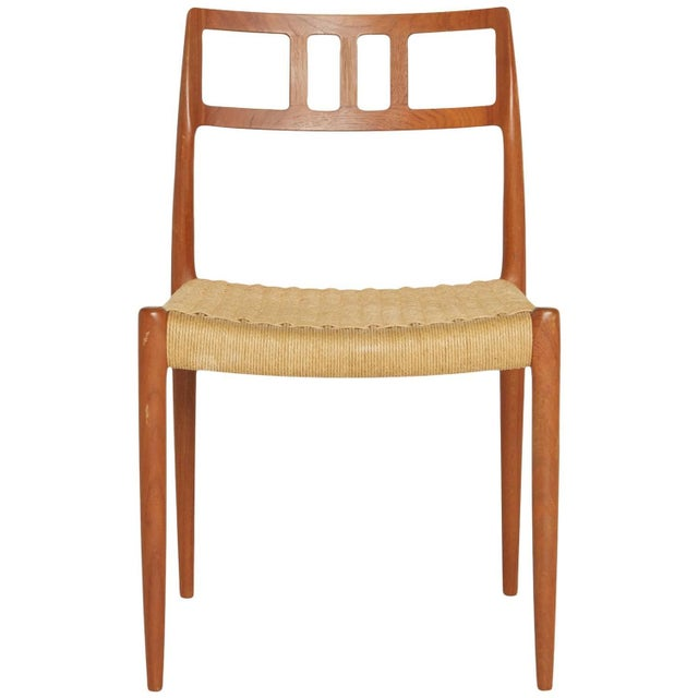 Teak and Woven Cord Chair by Niels Moller For Sale