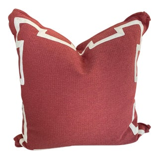 Coral and Ivory Fretwork Pillow For Sale
