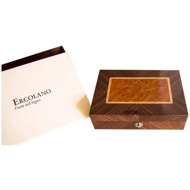 Ercolano Handmade Brown Wood Inlays Card Box - Image 2 of 4