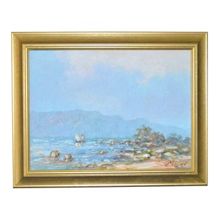 Blue Water Landscape Oil on Canvas Painting Plein Air Gold Frame For Sale