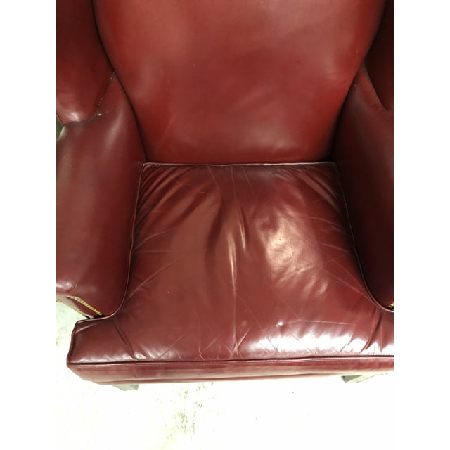 Beautiful Hancock and Moore oxblood leather chair with nailhead detail. Soft and supple leather, beautiful wood...