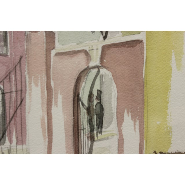 Pastel watercolour depicting a gated courtyard signed Henry L?& dated March 16, (19)84 LR & 'Pour David Noakes qui anime...
