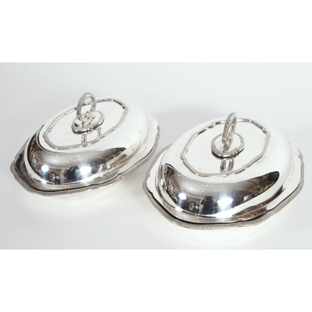 Vintage English Silver Plated Tableware Serving Dishes - a Pair For Sale - Image 10 of 12