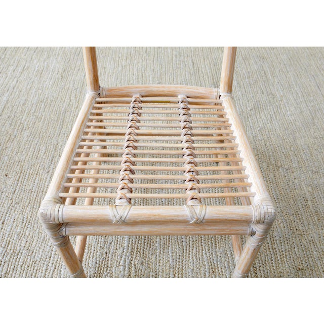 McGuire Cerused Rattan Dining Chairs- Set of 9 For Sale - Image 9 of 13