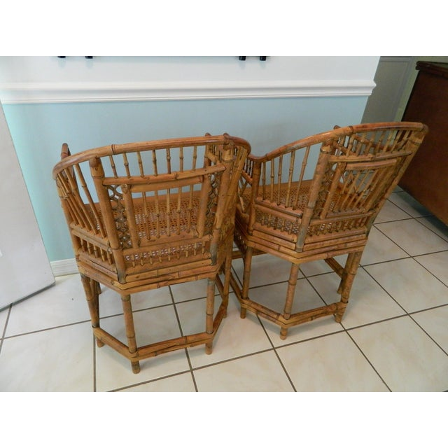 Vintage Brighton Pavilion-Style Bamboo Chairs - A Pair For Sale - Image 5 of 11