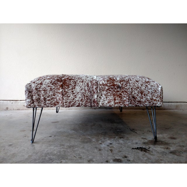 Gambrell Renard Tufted Cowhide Ottoman - Image 3 of 8