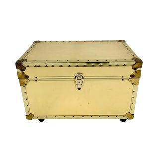 Vintage Riveted Wheeled Brass File Folder Chest & Key For Sale
