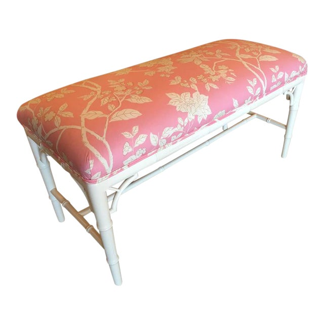 Faux Bamboo Chinese Chippendale Pink Lacquered Bench For Sale