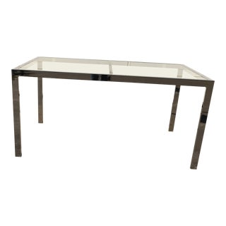 1970s Mid Century Modern Milo Baughman Chrome & Glass Parsons Dining Room Table For Sale