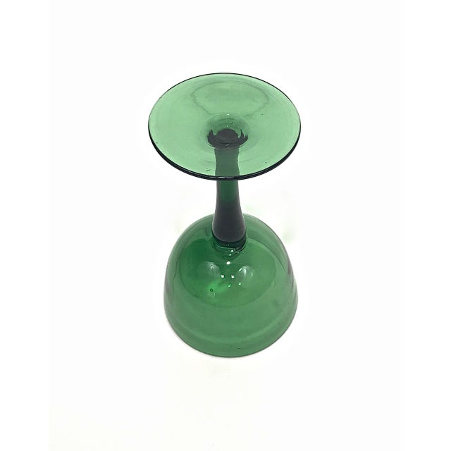 1960s Green Blown Glass Compote For Sale - Image 4 of 7