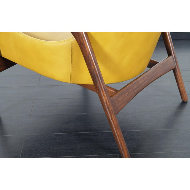 Selig Danish Modern Leather Lounge Chairs by Ib Kofod Larsen For Sale - Image 4 of 13