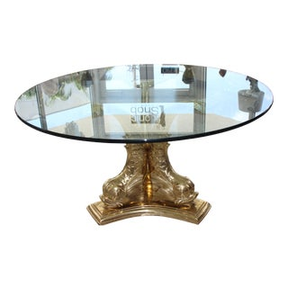 "Dolphin Dining or Center Table Polished Brass Base With 60"" Glass Top 1970s For Sale"