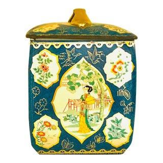 Early 20th Century Asian Women in Garden Scenes Tea Tin For Sale