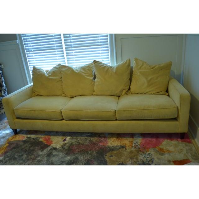 Ballard Designs Queens Velvet Yellow Vintage Sofa - Image 4 of 6