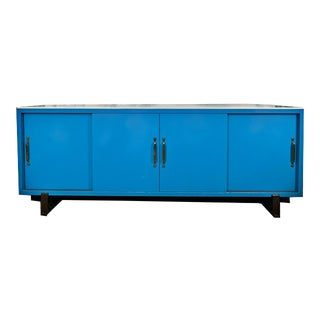 "1960s Tommi Parzinger ""Parzinger Originals"" Mid-Century Modern 4-Door Blue Credenza With Nickel Hardware For Sale"