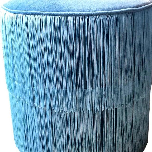 2010s Blue Velvet Ottomans Stools With Blue Fringe Surrounding For Sale - Image 5 of 6