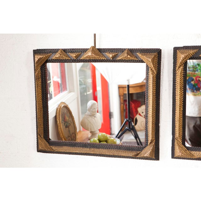 Early 20th Century Gold and Black Tramp Art Mirrors - A Pair For Sale - Image 5 of 6