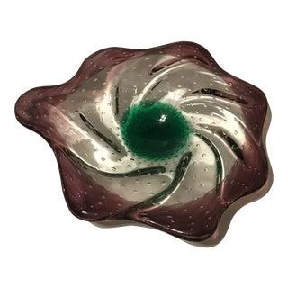 1960s Vintage Murano Glass Decorative Art Bowl Ashtray For Sale